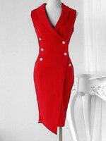 2018 New Fashion Summer Red Women Elegant Bodycon Office Dress Double Breasted V Neck Wrap Blazer Dress
