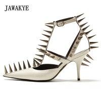 2018 Новые Sharp заклепки Римские сандалии женские острый носок вырез Ремешок на щиколотке обувь на высоком каблуке женские модные туфли лодочк