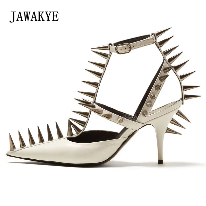 Здесь продается  2018 Newest Sharp Rivet Gladiator Sandals Woman Pointed Toe Cut-out Ankle Strap High Heels Shoes Woman Fashion Pumps Black White  Обувь