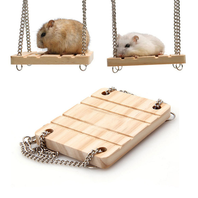 Small Animals Products Hamster Chinchilla Toys Wooden Swing Harness Hanging Bed Parrot Rest Mat Pet Hanging Pet Toys Accessories
