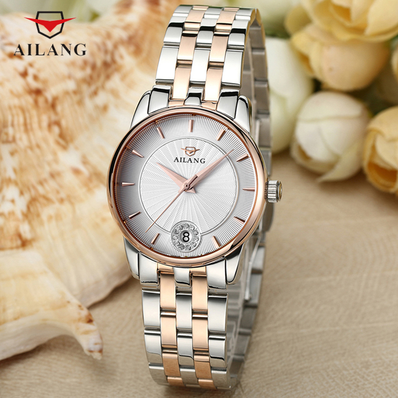 AILANG Rose Gold Watch Women Quartz Watches Brand Luxury Female Stainless Steel Wrist Watch Girl Clock Relogio Feminino A098 rigardu fashion female wrist watch lovers gift leather band alloy case wristwatch women lady quartz watch relogio feminino 25