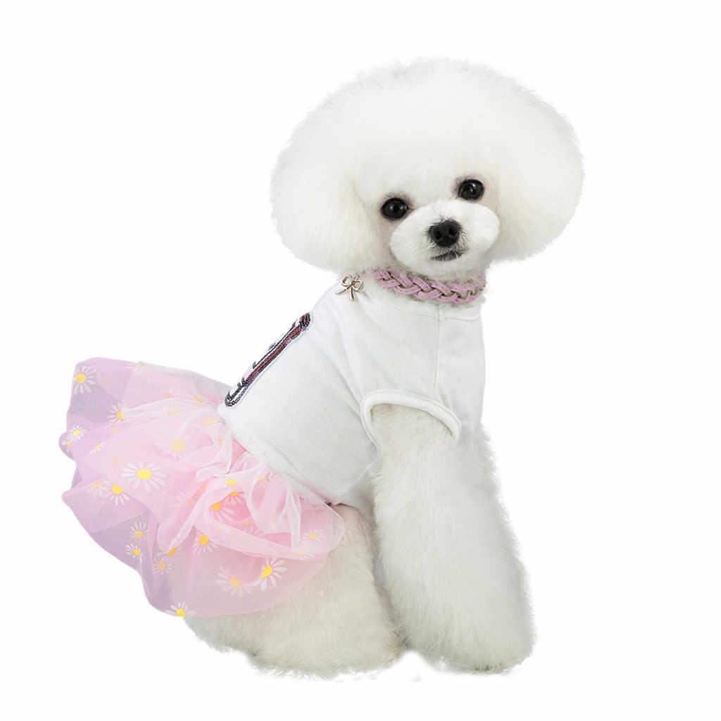 Одежда для собак, милое платье принцессы, летние духи с принтом щенка, платья для собак, аксессуары для домашних животных