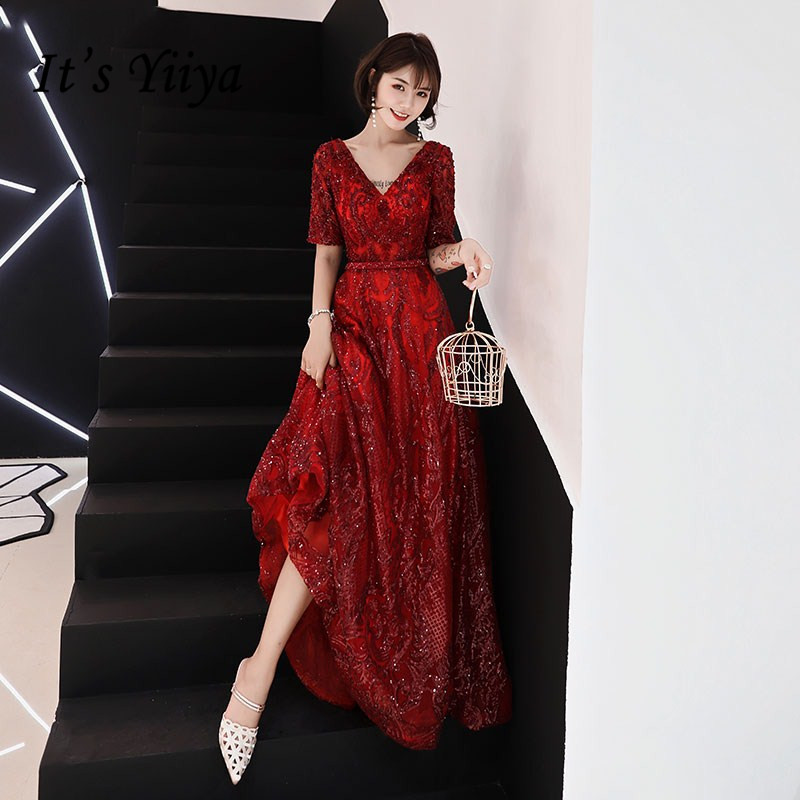 It's YiiYa Evening Dresses Sexy V-neck Wine Red Beading Floor-length Party Dress Simple Sequined Lace Up A-line Formal Gown E380