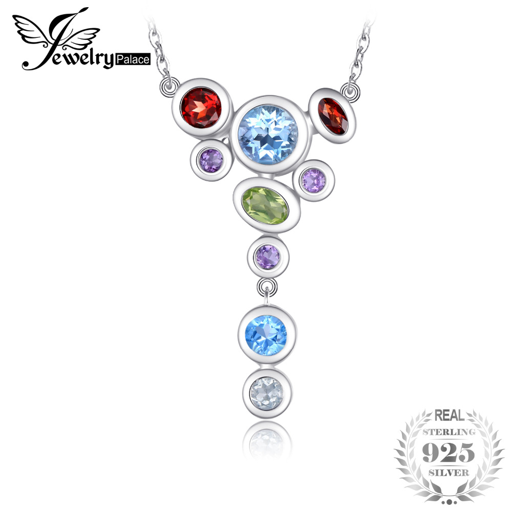 JewelryPalace Luxury 4.2ct MultiColor Genuine Amethysts Garnets Peridots Blue Topazss Pendant Necklace 925 Sterling Silver