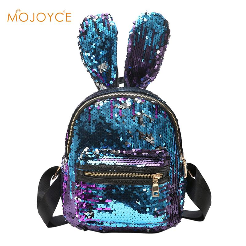 Women Bling Sequins Backpack Cute Big Rabbit Ears Double Shoulder Bag Women Mini Backpacks Children Girls Travel Bag Mochila New