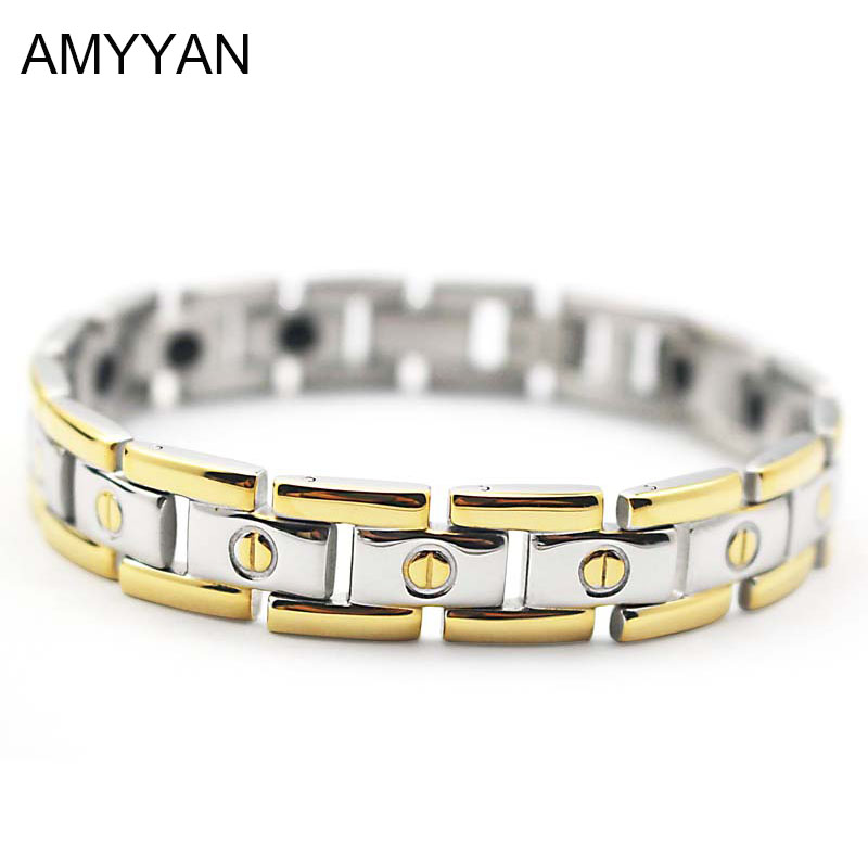 Us 8 25 Off Negative Ion Magnetic Germanium Bracelet Silver Gold Two Tone Link Chain Bracelets Men Jewelry An In