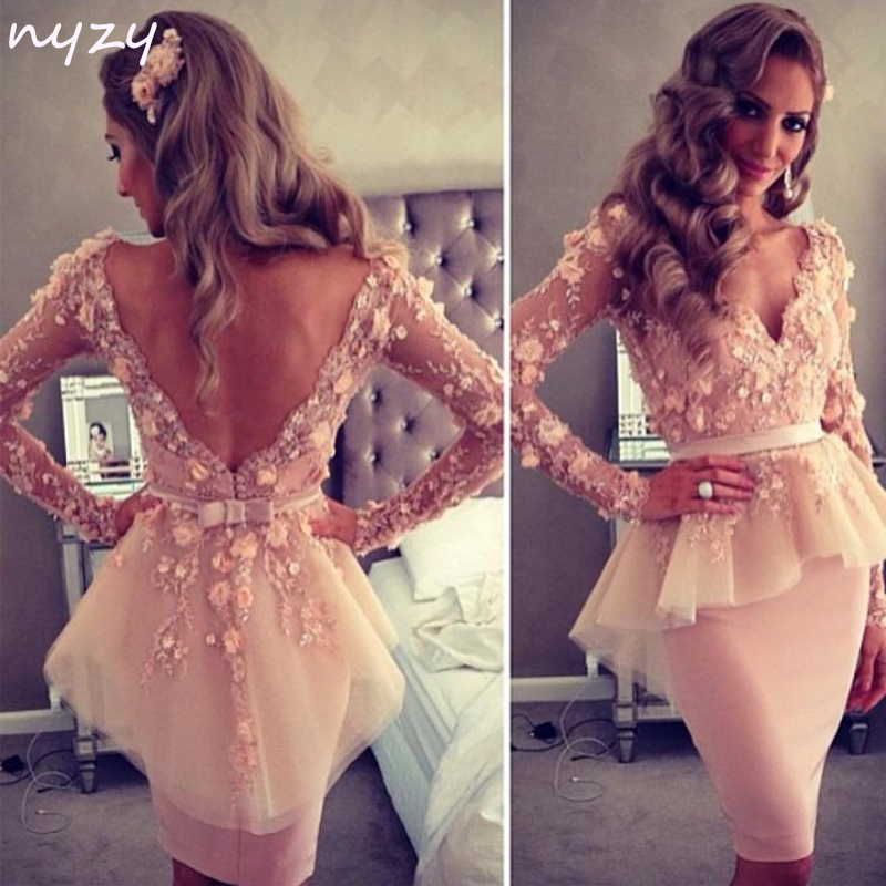 NYZY C14 2019 Elegant Formal Dress Party Homecoming Pearl Pink Tulle V Neck Long Sleeves Rosettes Sexy Backless Cocktail Dresses