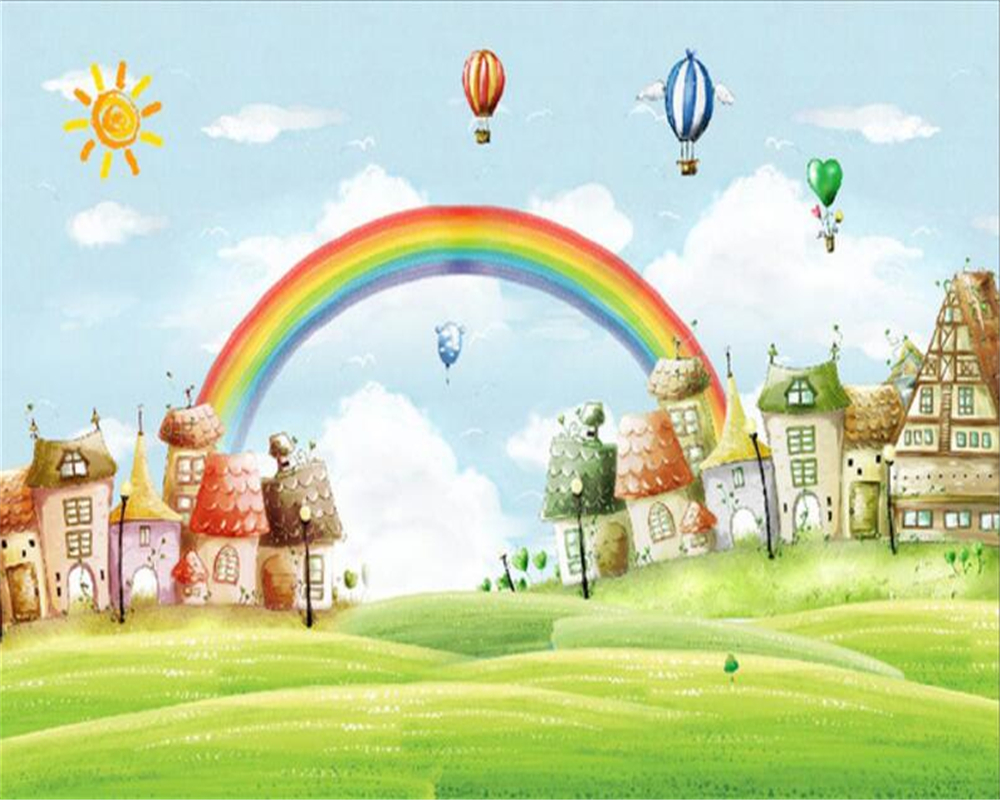 Rainbow cartoon image collections wallpaper and free for Rainbow wallpaper for kids room