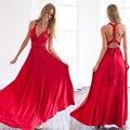 2017 Летом женщины мульти способ dress beautiful red maxi dress sexy V-образным Вырезом обернуть вокруг дизайн одеяние longue рукавов повязку dress