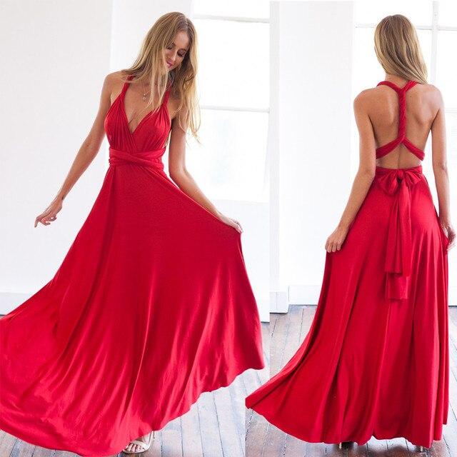 2017 mujeres del verano multi way dress hermosa maxi dress sexy v-cuello de la envoltura alrededor de diseño robe longue rojo sin mangas vendaje dress