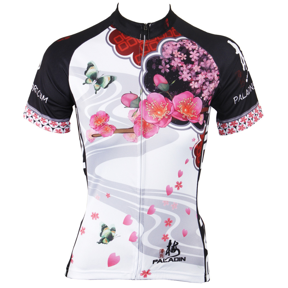 Pink Womens Cycling Jersey White Short Sleeve Breathable Top Sporty T shirt