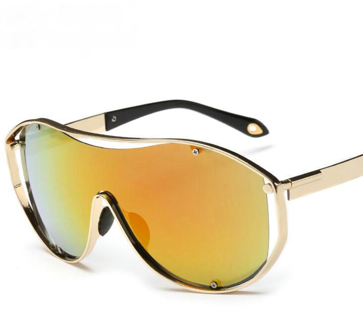 Hommes Nouveau Surdimensionné Steampunk lunettes de Soleil Femmes Vintage  Marque Designer Hip Hop Punk Sans Monture Cadre Miroir Lunettes de Soleil  UV400 f553559f9653