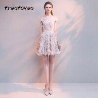 Treutoyeu 2018 Fashion Women Dress Evening Solid Bare Powder Dresses Summer Slash Neck Off The Shoulder Short Dress D060