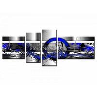 Gratis verzending! kleding Nieuwkomer 4 stks moderne blauw/wit/zwart lijnen abstract art schilderijen geschilderd op canvas home decor