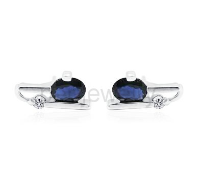 7460b4cc9 Naural sapphire earring Natural real blue sapphire 925 sterling silver Free  shipping For men or women stud 0.35ct*2pcs gems-in Earrings from Jewelry ...