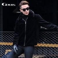 Gours зима Кожаные куртки для Для мужчин модные брендовые черные Дубленки Пальто с норки меховой воротник теплый Новый HS1809