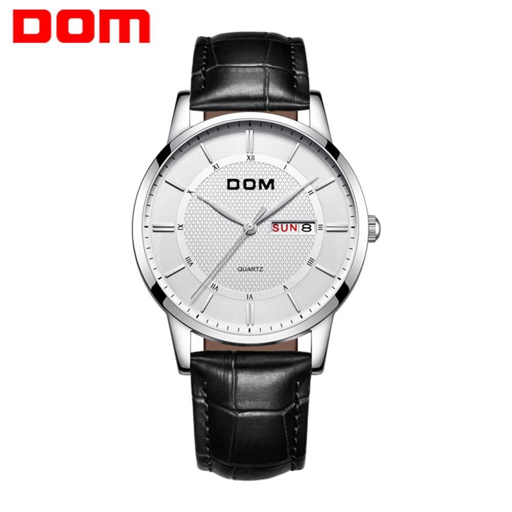 DOM модные часы мужские водонепроницаемые тонкий кожаный ремешок минималистичные наручные часы для мужчин кварцевые спортивные часы горяча...