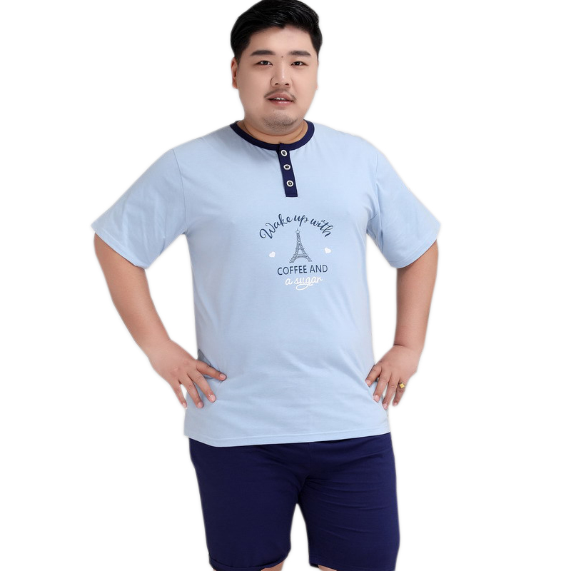 Plus Size Sexy Pure Color Shorts Sleepwear Men 140KG 5XL 100% Cotton Pajama Sets Men Simple Short Sleeves Casual Pyjamas Male