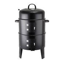 Black 3in1 BBQ Grill Roaster Smoker Steamer Barbecue Grill Portable Outdoor Camping Charcoal Stove Kitchen Cooking Tools Utensil