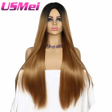 USMEI 30 Inches Long Straight Black Roots Ombre wig blonde Brown Synthetic None Lace Wig Heat Resistant Fiber For Black Women недорого