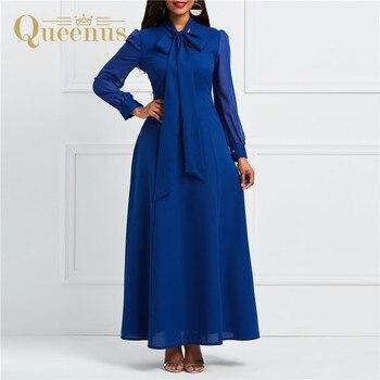 d70c4fe7c25025b Женское Макси-Платье рубашка длиной до пола femme ete 2019, модное женское  платье с бантом, темно-синее Элегантное Длинное платье с длинным рукаво.