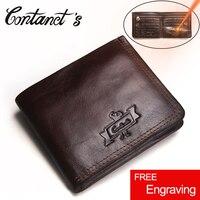 Contact S Genuine Leather Wallet Men Vintage Brand Money Bag Zip Coin Purse Wallets Bifold High
