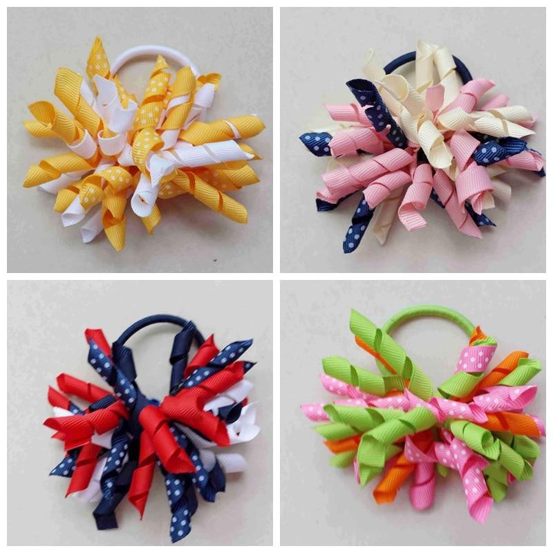 10pcs renda 3.5inch prints polka dot Corker hair bobbles Curlies loop  Ribbon Korker hair bows clips Girl hair Accessories PD007 f352b756c8a