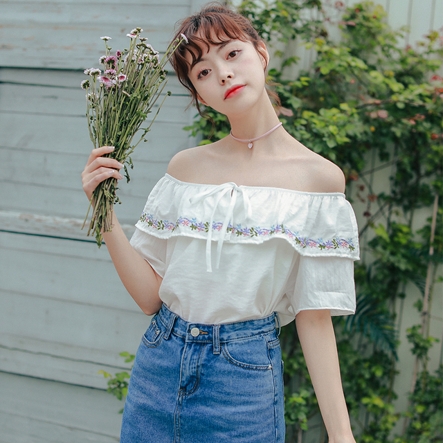 0daaff5a993401 Women s Blouses Japan Kawaii Ladies Vintage Summer Sexy Machine Bare Off  Shoulder Bow Lotus Leaf Collar Embroidered Blouse