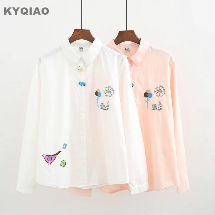 Women's Clothing Kyqiao Women Pink Shirt 2019 Mori Girls Autumn Spring Japanese Style Peter Pan Collar Long Sleeve Print Blouse Blusas Femininas