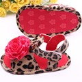 Toddler Baby Girls Flower Leopard PU Leather Soft Bottom Prewalker Shoes First Walkers