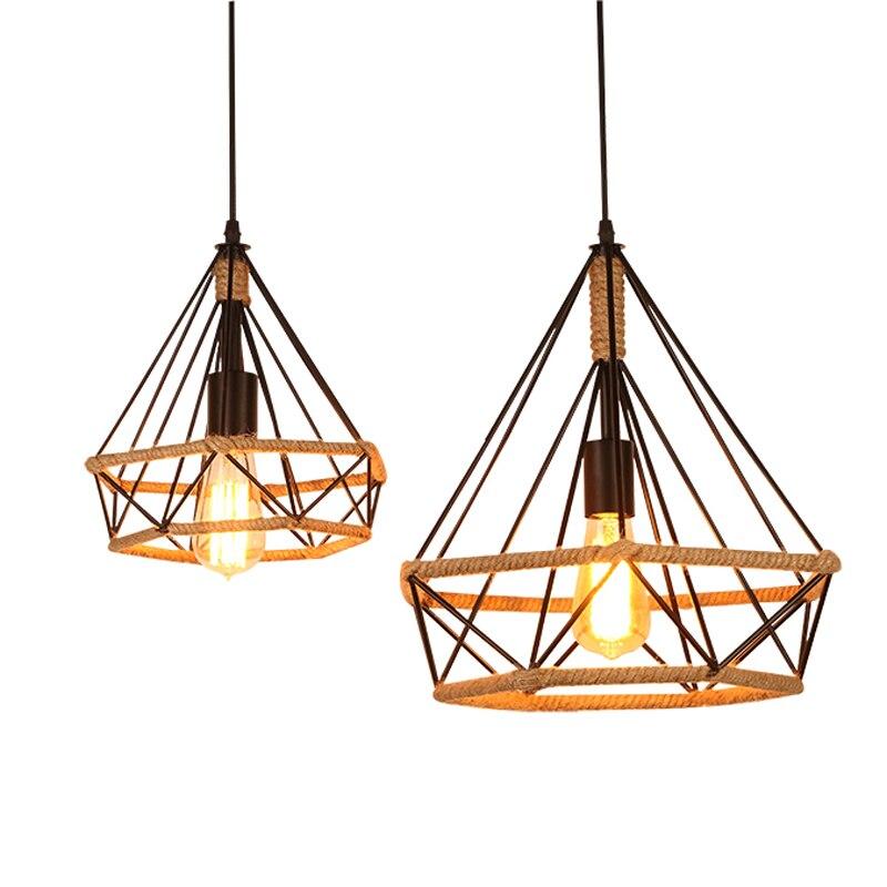 American industrial wind handmade rope E27 bulb pendant light fixture creative loft retro diamond iron birdcage pendant lamp