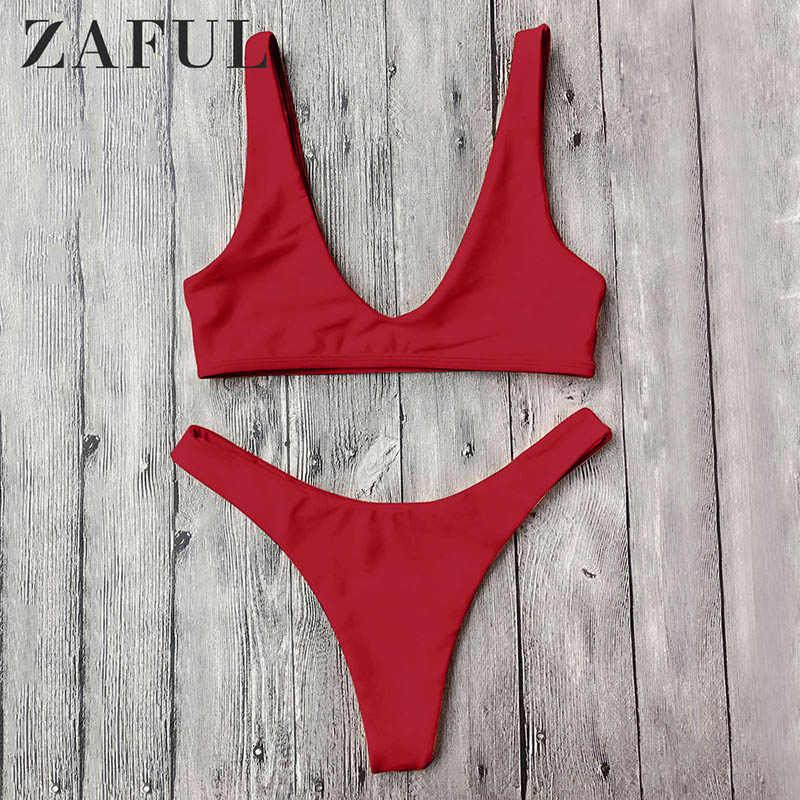 ZAFUL Set Bikini Imbottito Stampa Leopardo High Cut Bikini per Donna 2019