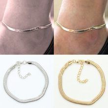 fashion metal flat snake chain anklet bracelet on the leg for women beach ankle bracelet foot chain jewelry