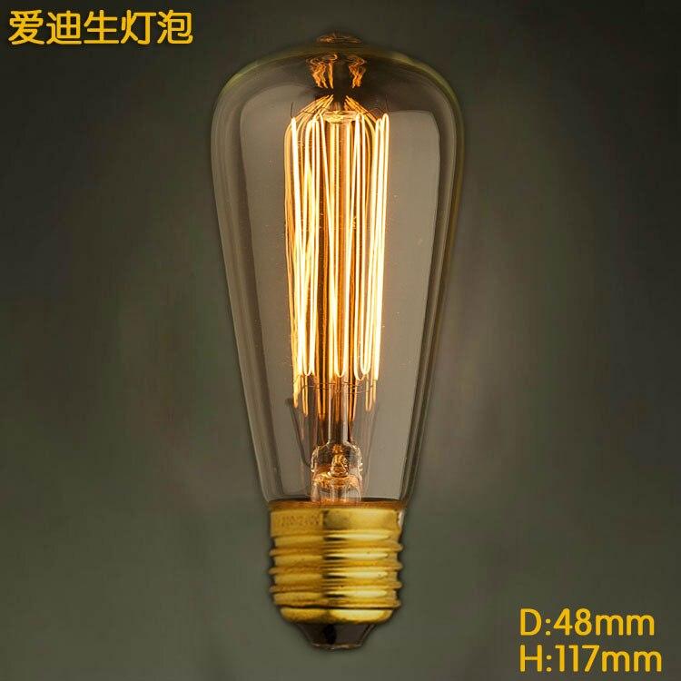 New 110V 220V ST48 E27 40W Vintage Antique Retro Edison Lamp Light Bulb DIY Decorative Art Chandelier tungsten light source