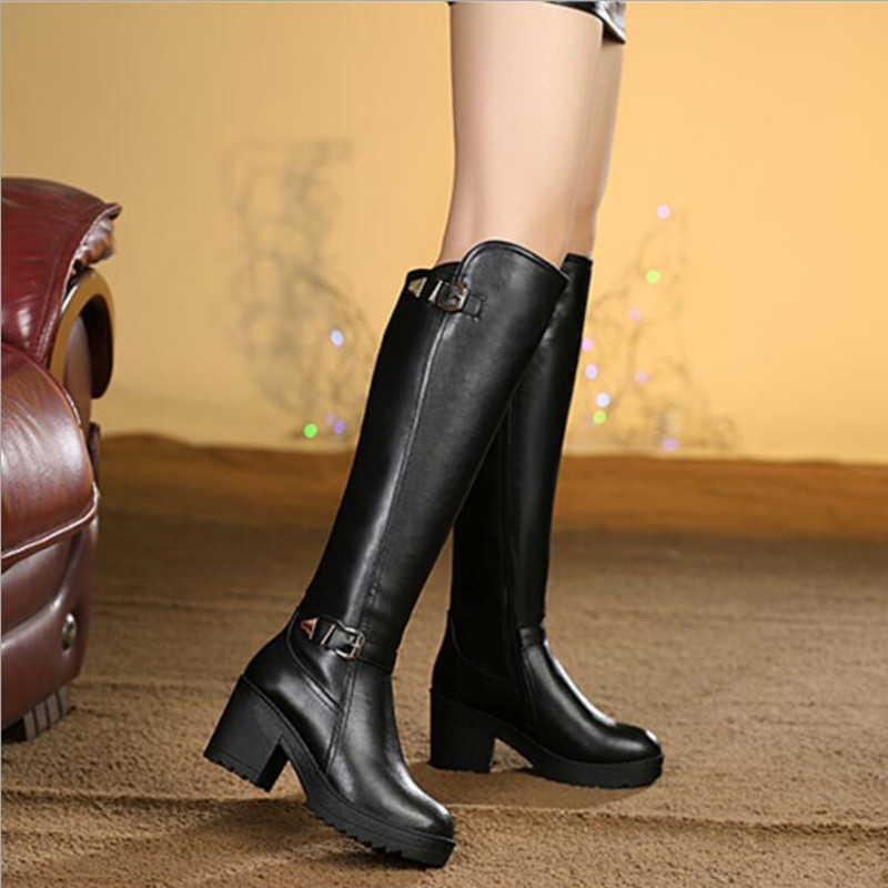 2017 Fashion Cool Motorcycle Punk Boots Women Thick High