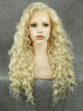 N18-1001/613 Blonde Stunning Curly Synthetic Lace Front Wig Rupaul Wig for beautifu girls
