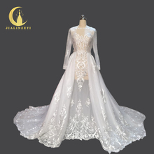 Rhine Real Sample Image Fashion Zuhair Murad Two Pieces Long Sleeves Embroidery Court Trian Hot Sale Wedding Dresses(China)