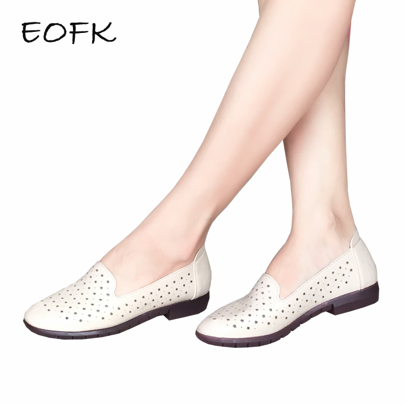 EOFK 2018 Women Leather Flat Shoes Woman Summer Hollow Cut out Causal Shoes Comfortable Slip On Flats Shoes Womens Footwear