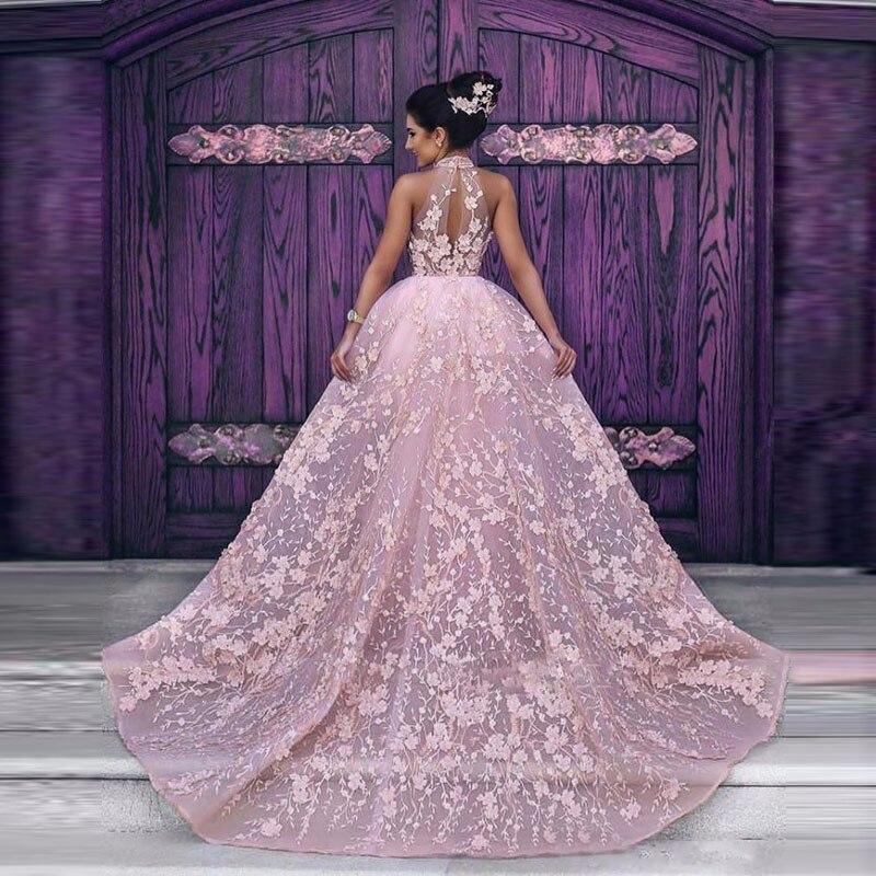 Lebanon Evening Dress Pageant Gowns Pink Appliques Lace Formal Dresses Long Elegant Evening Gown Removable Tail Vestido De Festa gown