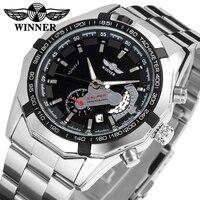 Men Male Winner Brand Mechanical Watch Steel Automatic Stylish Clock Classic Skeleton Steampunk Wristwatches Relogio Masculino