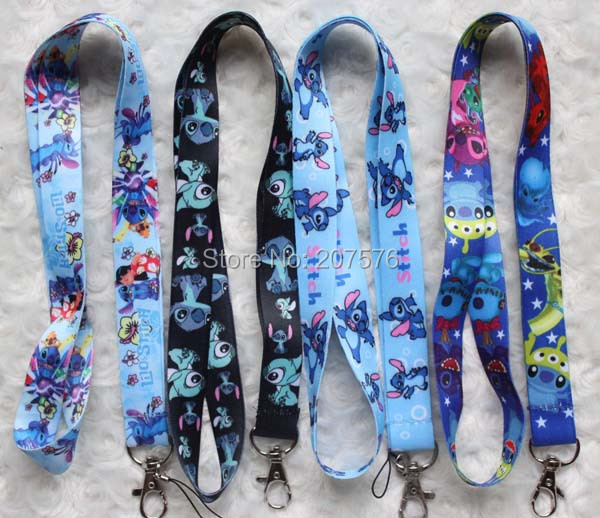 Free Shipping 50pcs Lilo Stitch key lanyards id badge holder keychain straps for mobile phone Free