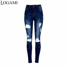 LOGAMI High Waist Women Denim Pants Spring Autumn Hole Female Casual Pocket Skinny