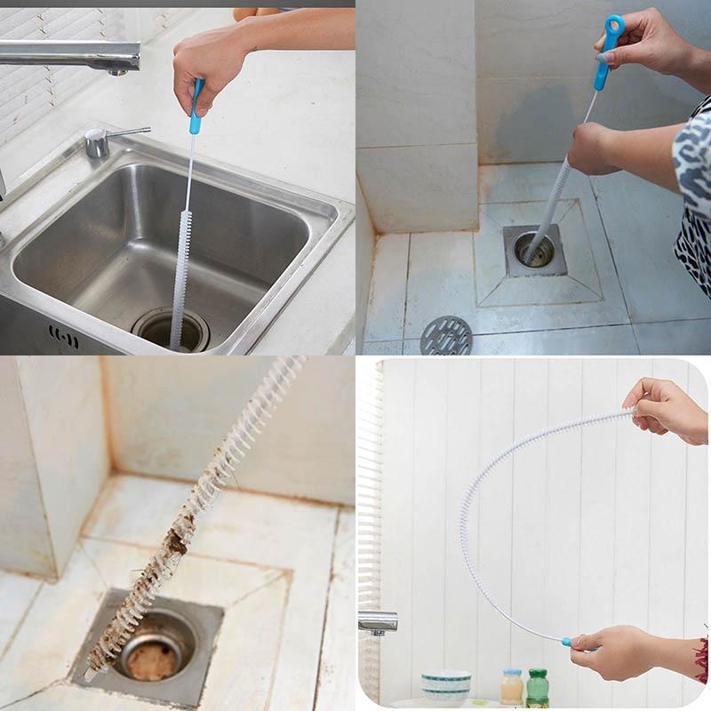 2018 71cm flexible sink drain unblocker brush cleaner for Cleaning a bathroom sink drain