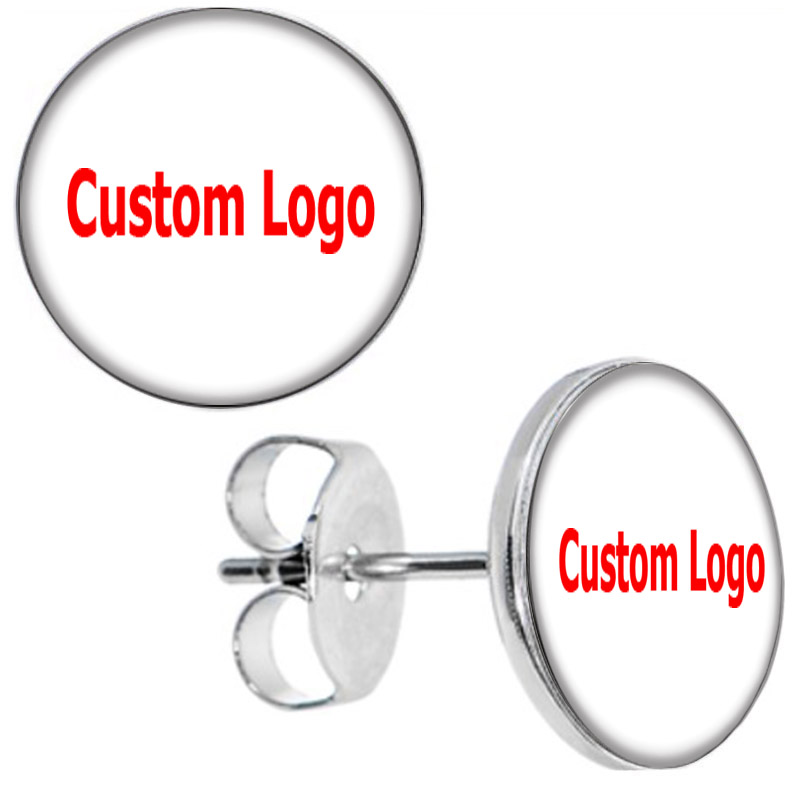 Wholesale Custom Stud Earrings Ear Studs Picture Logo Earring Cheaters 10*0.7mm ZCST-225 ...