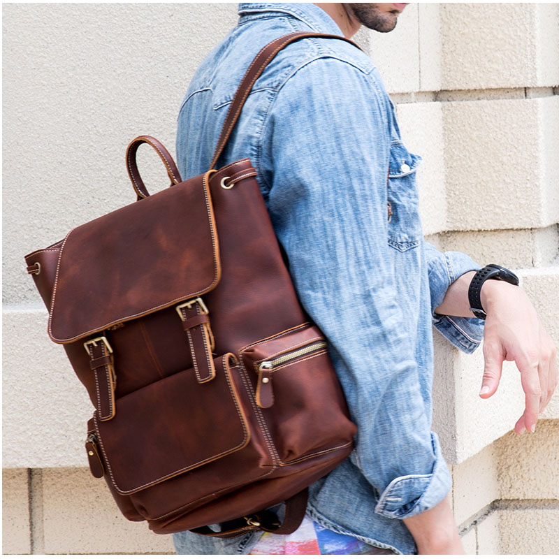 Vintage Thick Crazy Horse Genuine Leather For Men Women Backpack Dark Brown Ipad Rucksack School Bag Cow Leather Crossbody Bag Luggage & Bags