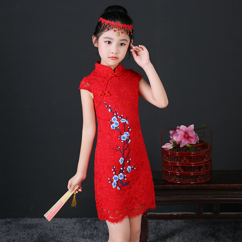 все цены на  2017 autumn floral baby qipao girl dress lace cheongsam gift children clothes kids dresses girls clothing wedding princess  онлайн