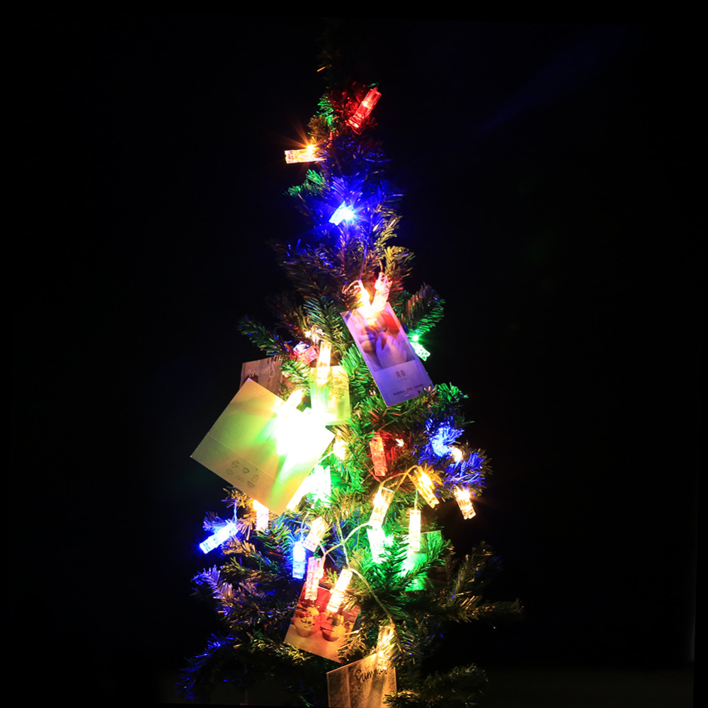 10/20 LED Battery Box Light Strings Power Photo Peg Clip Shape Fairy String Lighting Hanging Picture Party Christmas Decor