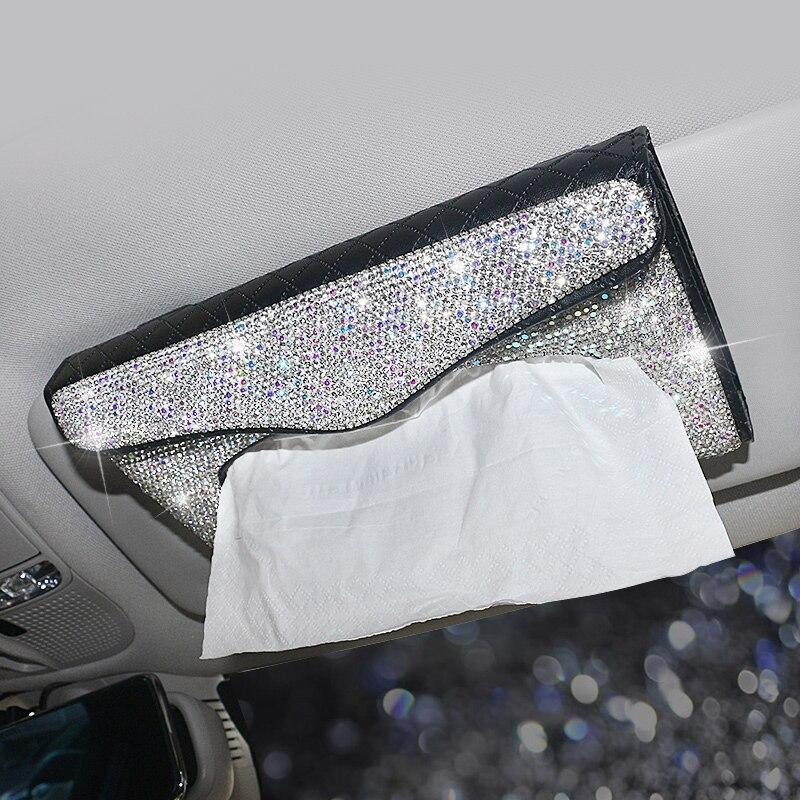 Car Accessories Tissue Box Crystal Rhinestones Car Tissue Box Visor Type PU Leather Tissue Box Cover Glitter Paper Holder Women