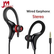 MEUYAG 3.5mm zaczep na ucho słuchawki Stereo Sport Running słuchawki douszne słuchawki basowe z mikrofonem dla iPhone Samsung IOS Android