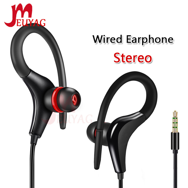 MEUYAG auriculares estéreo con gancho para la oreja, 3,5mm, para correr, con micrófono, para iPhone, Samsung, IOS y Android
